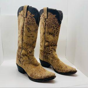 Nocona Distressed Leopard Print Cowboy Boots 7.5 B